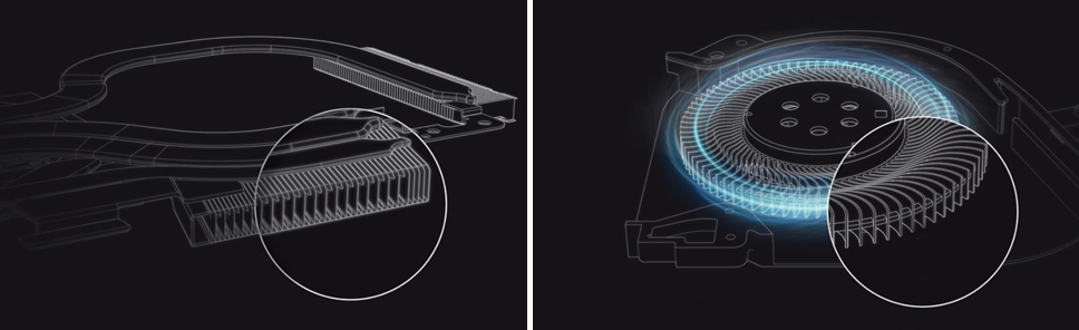 0.1㎜ 두께 구리핀(왼쪽)은 내부에 총 205개가 삽입돼 있다. 방열반 위에는 가열된 물을 냉각팬으로 전달하는 열전도관이 지나고 있다. 냉각팬은 견고한 액정 폴리머로 제작된 8개 날개가 15% 더 많은 공기를 내부로 공급한다. [사진=에이수스]