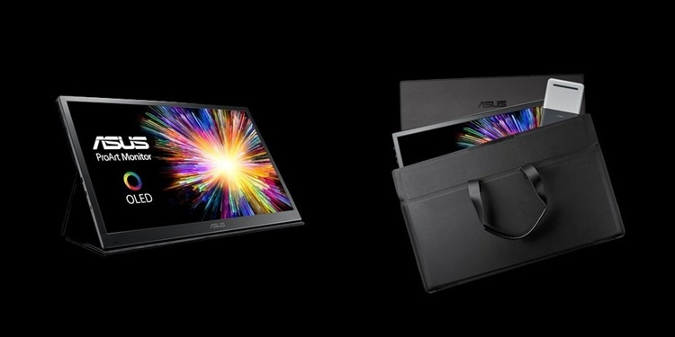 에이수스는 같은 프로아트 라인업에서 21.6인치 4K OLED 휴대용 모니터(PQ22UC)도 함께 판매하고 있다. 이 제품은 HDR10, DCI-P3 99%, 델타-E<2를 만족한다. [사진=에이수스]