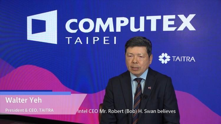 월터 예 대만대외무역발전협회 대표가 가상 컴퓨텍스에서 밥 스완 인텔 CEO를 소개하고 있다. [사진=컴퓨텍스 타이베이]