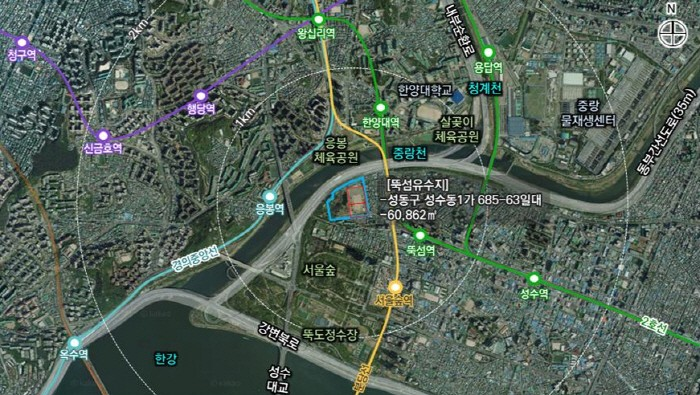 뚝섬유수지 위치도(제공:News1)