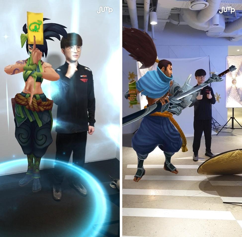 T1 페이커가 점프AR앱을 이용해 LoL 게임 캐릭터와 함께 사진을 찍고 있다. [사진=인스타그램 @yeovelynn]