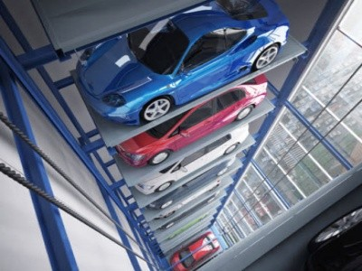 AJ Automated Parking Systems' tower type parking facility that can accommodate up to 80 cars
