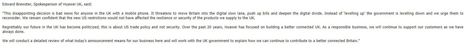 영국 화웨이 대변인 에드워드 브루스터의 영국 5G 네트워크 내 화웨이 장비 금지 결정 관련 공식 입장문