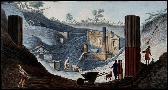 <사진: 18세기 발견 당시 폼페이 유적>