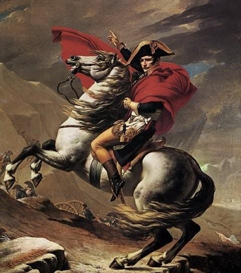 <사진: 자크 루이 다비드, 「알프스산맥을 넘는 나폴레옹」, 1801, 말메종 성 소장>