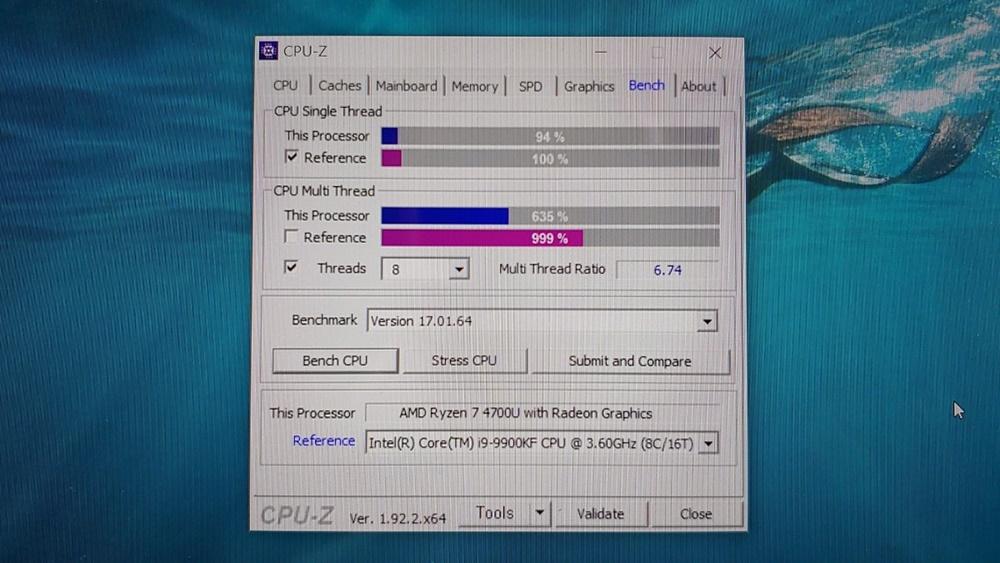 CPU-Z 벤치마크 결과