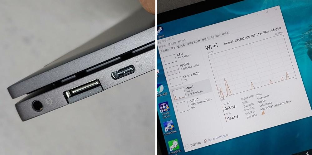 (왼쪽)USB-C단자로 PD 충전이 가능하다. 썬더볼트3는 지원하지 않는다. 무선인터넷은 전 세대인 와이파이5를 지원하고 있다.