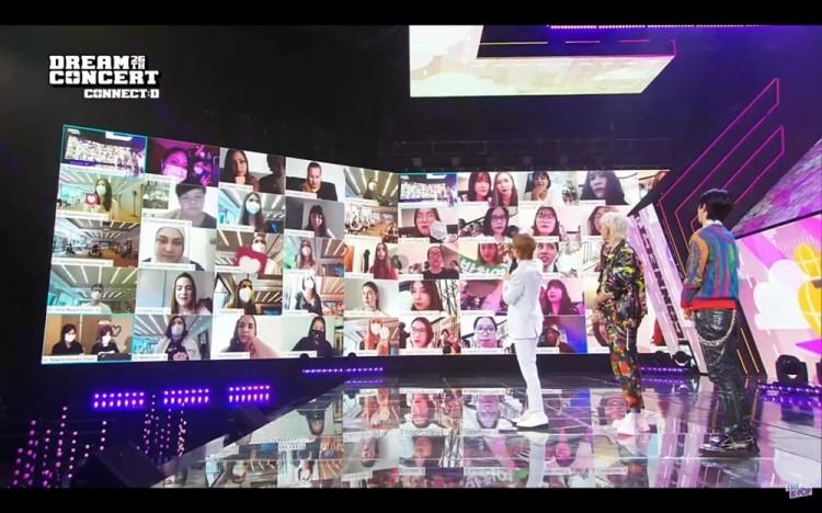 제26회 드림콘서트 'CONNECT:D'에서 U+영상회의를 통해 진행된 'EXO-SC'의 온택트 팬미팅 모습 [사진=LG유플러스]