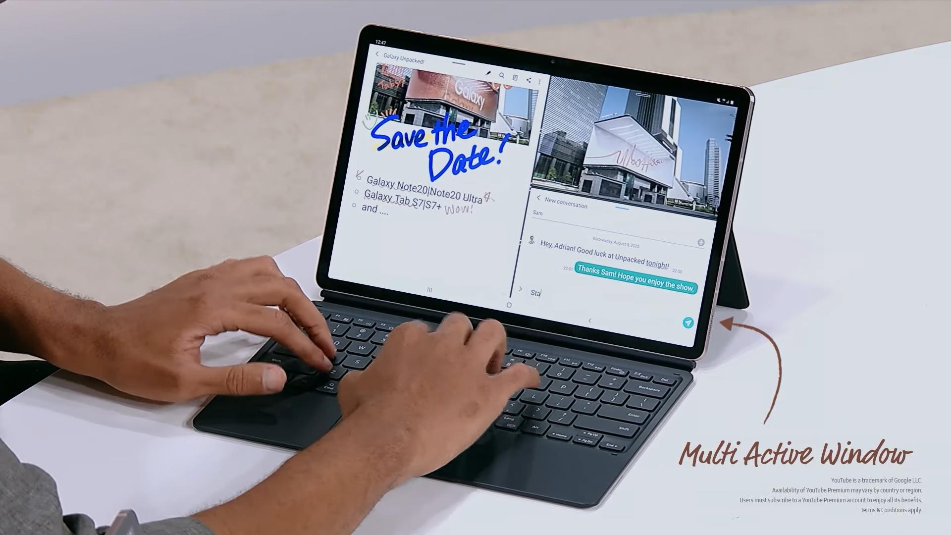 갤럭시 탭S7에 전용 북 커버 키보드를 조합해 노트북처럼 사용하고 있다. [사진=삼성전자]
