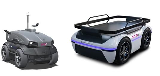 순찰로봇(왼쪽)과 물류로봇 모습 [사진=LG유플러스]