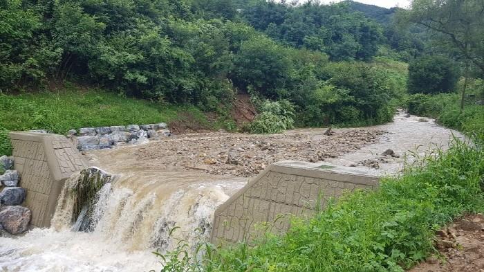 상류에서 떠내려 온 토사와 나뭇가지 등이 사방댐에 걸려 있는 모습(제공:충주산림조합)