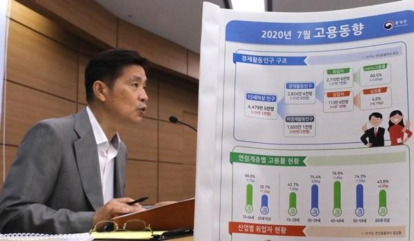정동명 통계청 사회통계국장이 7월 고용동향을 설명하고 있다. 사진 = 뉴스1