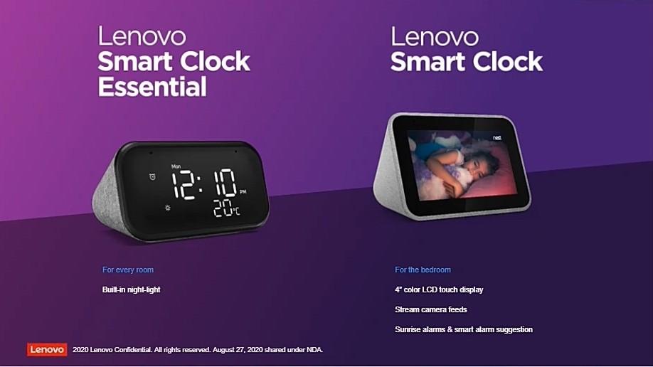 레노버 홈 디바이스 '스마트 클락 에센셜'(왼쪽)과 '스마트 클락'