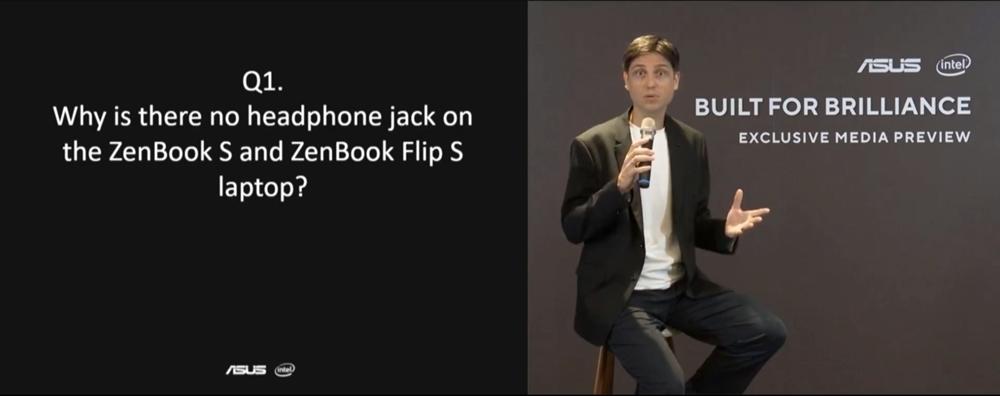 샤샤 크론이 젠북 S와 젠북 플립 S에 유선 이어폰 단자가 적용되지 않은 이유를 설명하고 있다.
