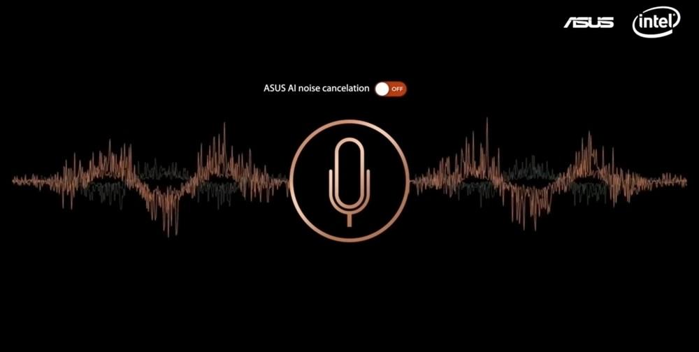 에이수스는 온라인 가상 이벤트에성 AI 노이즈 캔슬링 기능을 적용한 음성을 비교 시연했다.