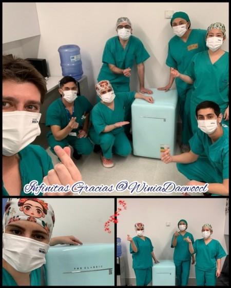 위니아 냉장고를 전달받은 간호사들이 감사의 의미를 담아 게재한 SNS 포스팅. [사진=위니아대우]