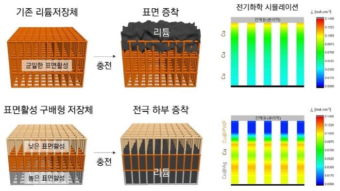 표면활성 구배형 전극에서 리튬저장 거동 및 전기화학 시뮬레이션