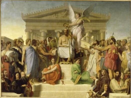 장 오귀스트 도미니크 앵그르, 「호메로스의 예찬」, 1827, 루브르 박물관