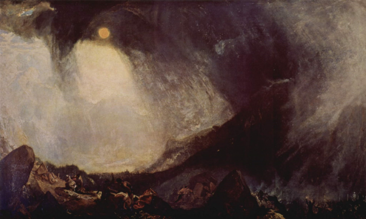 윌리엄 터너, 「눈보라: 알프스를 넘는 한니발과 그의 군대」, 1812, 테이트 갤러리