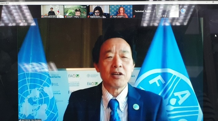 유엔식량농업기구(FAO) 사무총장 취동위(Qu Dongyu) 연설(제공:산림청)