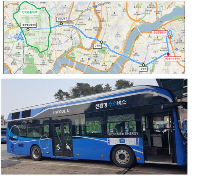 버스 370번 노선도(위), 수소버스 모습(제공:서울시)