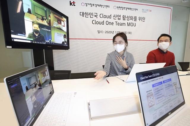 KT, 경기창조경제혁신센터, 인천창조경제혁신센터, 한글과컴퓨터 실무진이 양해각서를 맺은 후, 비대면 회의를 통해 클라우드 생태계 확대 방안에 대해 논의하고 있다.