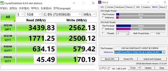 저장장치 속도와 CPU-Z 벤치 점수