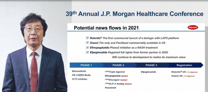 온라인으로 개최된 제39회 JP 모건 컨퍼런스에서 권세창 사장이 한미약품의 2021년 비전과 전략을 발표하고 있다.