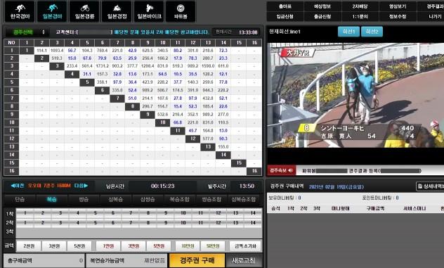 일본 경주 화면