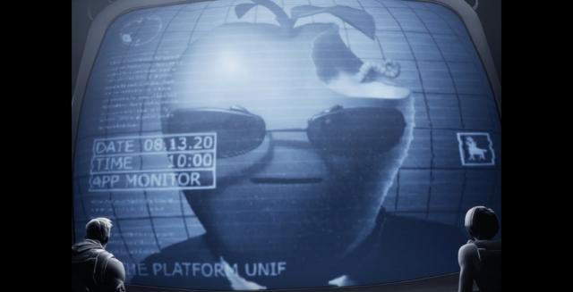 에픽게임즈가 애플의 앱통행세 관련해 '빅브라더'로 비판한 영상의 뱁쳐화면.