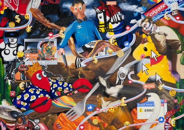 필립 콜버트(Philip Colbert) 'BOAR HUNT, 캔버스에 유채와 아크릴, 190×270×4.5 CM, 2018'. 사진=아트앤크리에이티브(ANC) 제공