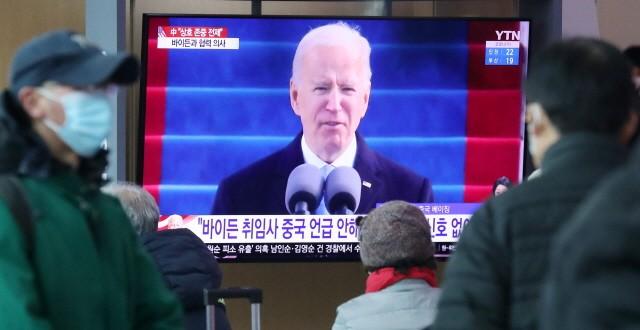 미국 조 바이든 대통령이 2조 달러 규모의 천문학적 인프라 투자 경기 부양책을 발표했다. 사진은 지난 1월 취임식 방송 모습. 출처=뉴스1