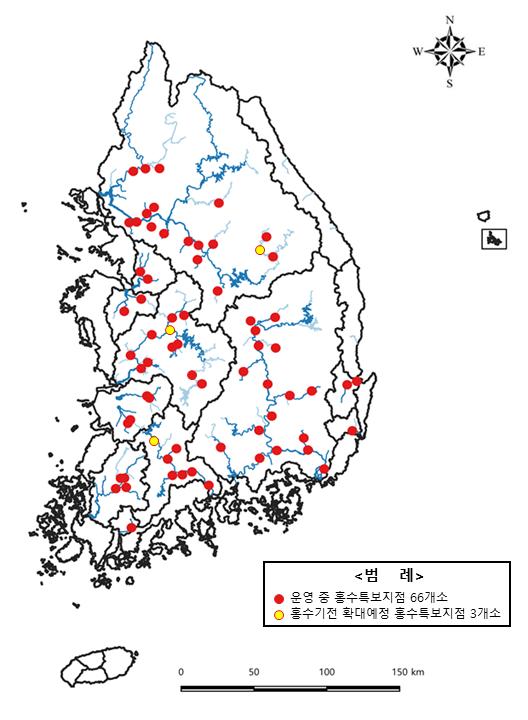 전국 홍수 특보지점 현황(자료=환경부)