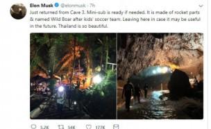 머스크, 소형 잠수함 갖고 태국 동굴 구조현장 방문