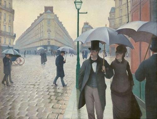 [Gustave Caillebotte, Paris Street: Rainy Day, 1877]. 파리의 쌩라자르역(Saint-Lazare)을 배경으로 한 작품으로 19세기 말의 패션과 도시의 모습을 읽을 수 있다. 도시의 출현과 카페, 기차역, 공연장 등은 공적영역의 개념화에 중요한 역할을 했다