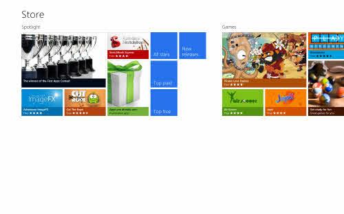 메트로 스타일의 애플리케이션 다운로드 서비스 '스토어'. 사전 설치된 애플리케이션 재설치 기능을 제공한다.