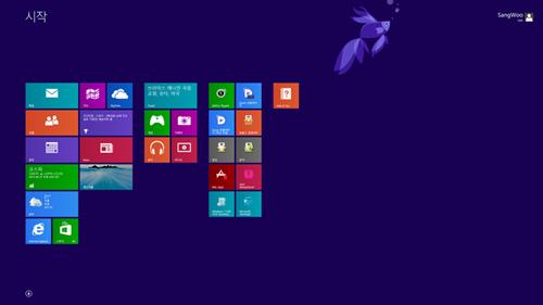 ▲ 윈도우8.1 시작화면