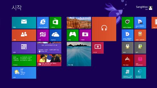 ▲ 윈도우8에서는 타일을 이동하려면 사용자 지정 모드에서만 가능했다.