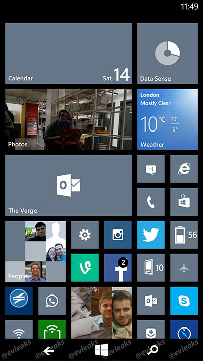 <center>@evleaks에 올라온 윈도폰8.1의 화면으로 추정되는 스크린샷. 온스크린 버튼이 탑재된 모습을 확인할 수 있다. </center>