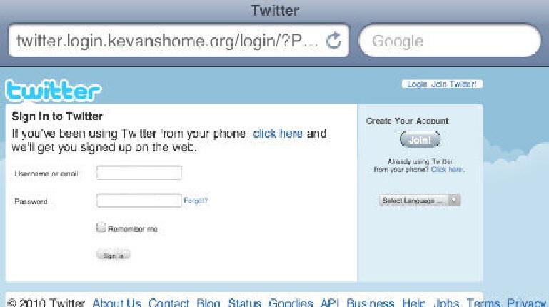 스마트폰에서 열린 피싱 사이트
