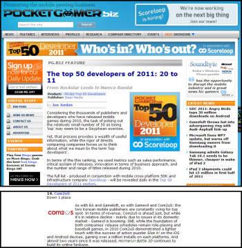 영국 모바일게임 웹진 포켓게이머가 발표한 세계 최고의 모바일 게임사 순위에서 게임빌과 컴투스가 각각 12위와 14위로 선정됐다.