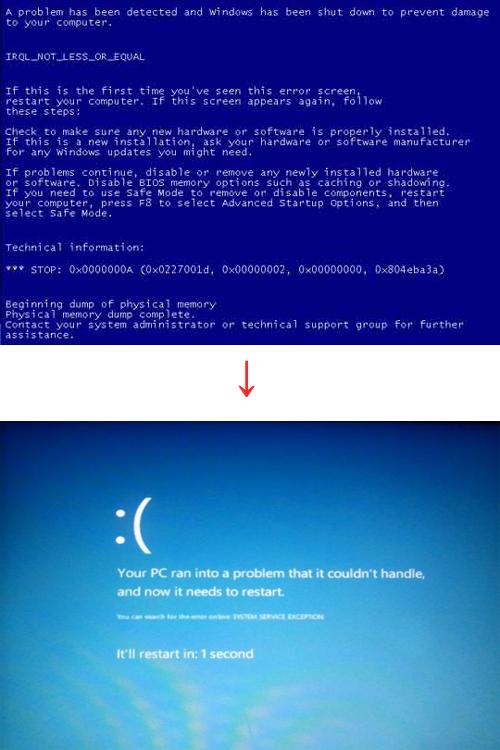 [화보]공포의 파란화면 `블루스크린`, 윈도8에서 확 달라졌다