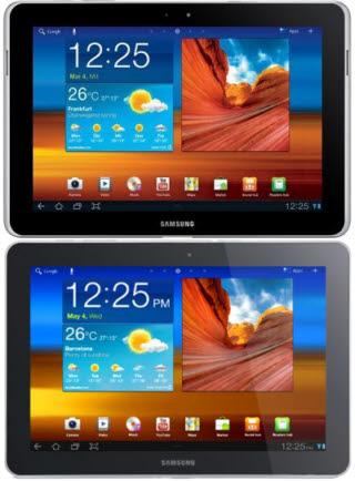 삼성전자의 갤럭시탭 10.1<사진 위>와 디자인 수정본 갤럭시탭 10.1n
