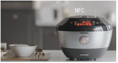 제이씨스퀘어의 근거리무선통신(NFC) 시스템을 채택한 리홈 쿠첸의 스마트 밥솥.