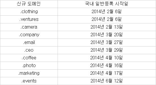 주요 신규 도메인 현황