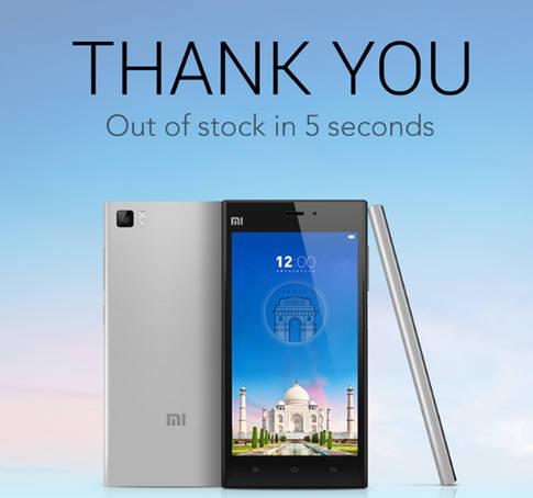 샤오미가 지난달 인도에서 판매한 Mi3가 5초만에 매진되자 홈페이지에 올린 감사 이미지.