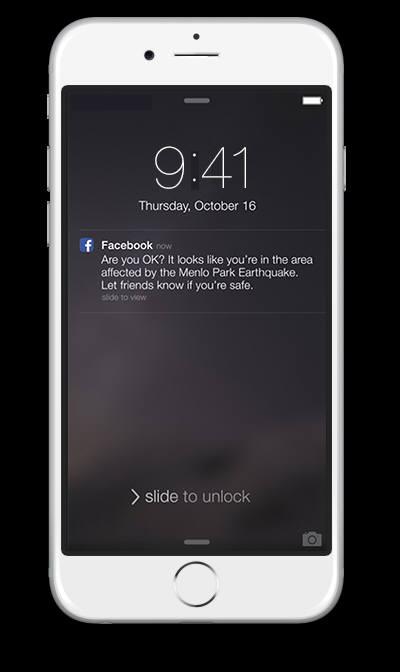 페이스북이 새롭게 내놓은 `안전확인`서비스 화면
