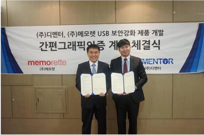 박부국 메모렛 대표(왼쪽)와 김민수 디멘터 대표가 상호 협력에 합의했다.