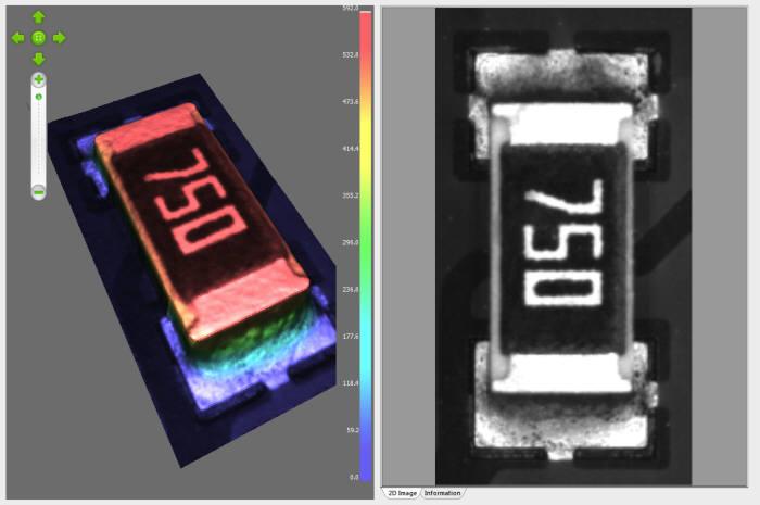 3D 검사 기술로 칩 부품 실장 불량을 판별하는 모습