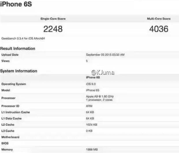 웨이보 사용자 @K JUMA가 공개한 기크벤치의 벤치마크테스트(BMT) 결과표. 아이폰6S에는 1.8GHz 클록스피드를 가진 최신 A9 칩셋이 사용되며 2GB램이 장착되며, 싱글코어 점수는 2248점, 멀티코어점수는 4036점임을 보여준다.